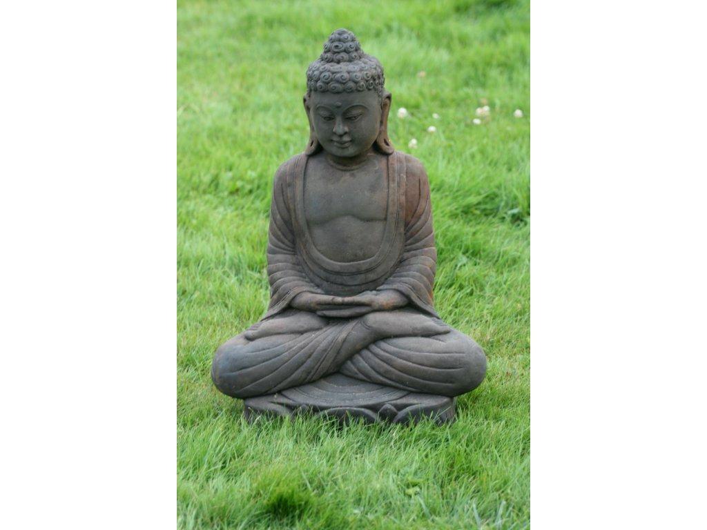 Socha Budha Buddha na lotosovém květu 62cm – model B patina DB