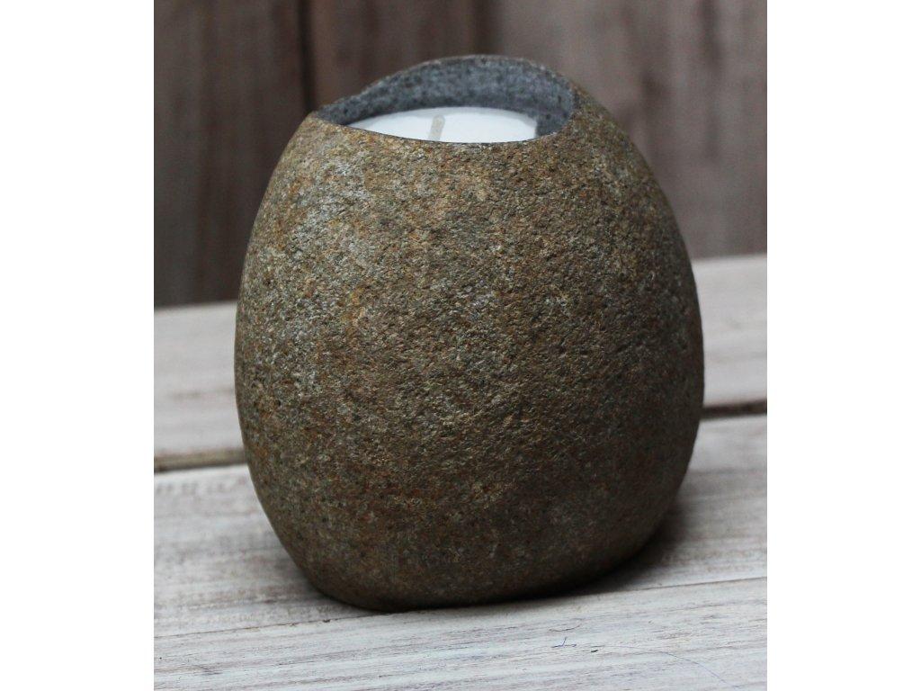 Svícen říční kámen na čajovou svíčku model A