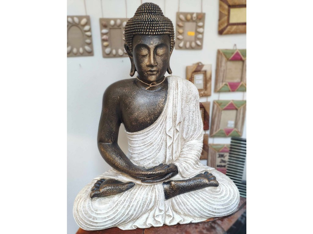 Socha Budha Buddha fiber pryskyřice 60cm bílé roucho