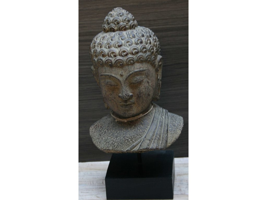 Socha Budha Buddha torzo na dřevěném podstavci 35cm patina BY