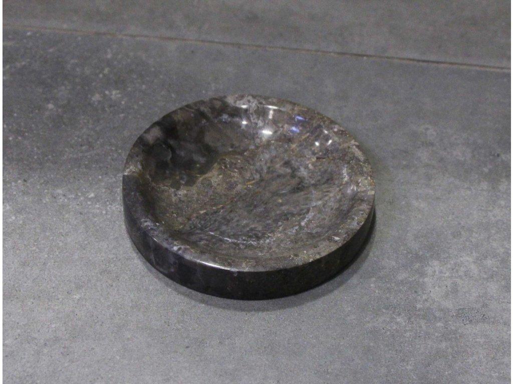 Mramorová mýdlenka - miska tmavá průměr 9cm