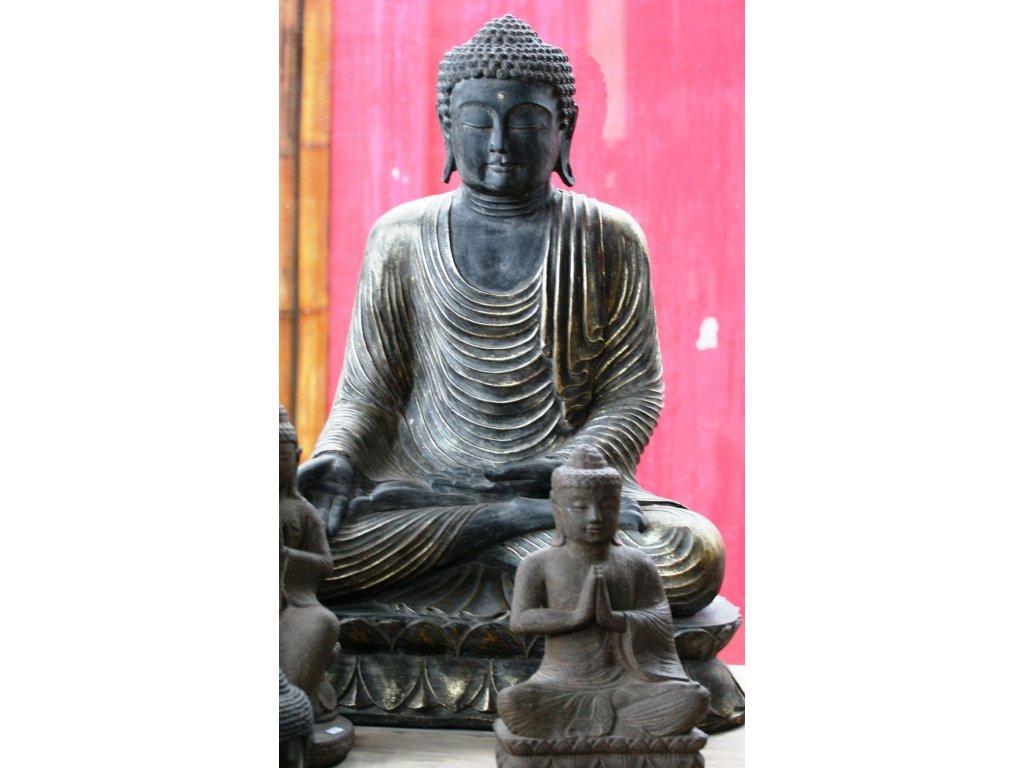 Socha Budha Buddha meditující na lotosovém květu 90cm