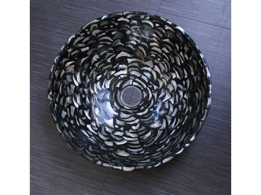 Unikátní umyvadlo vykládané pravou perletí průměr 43cm