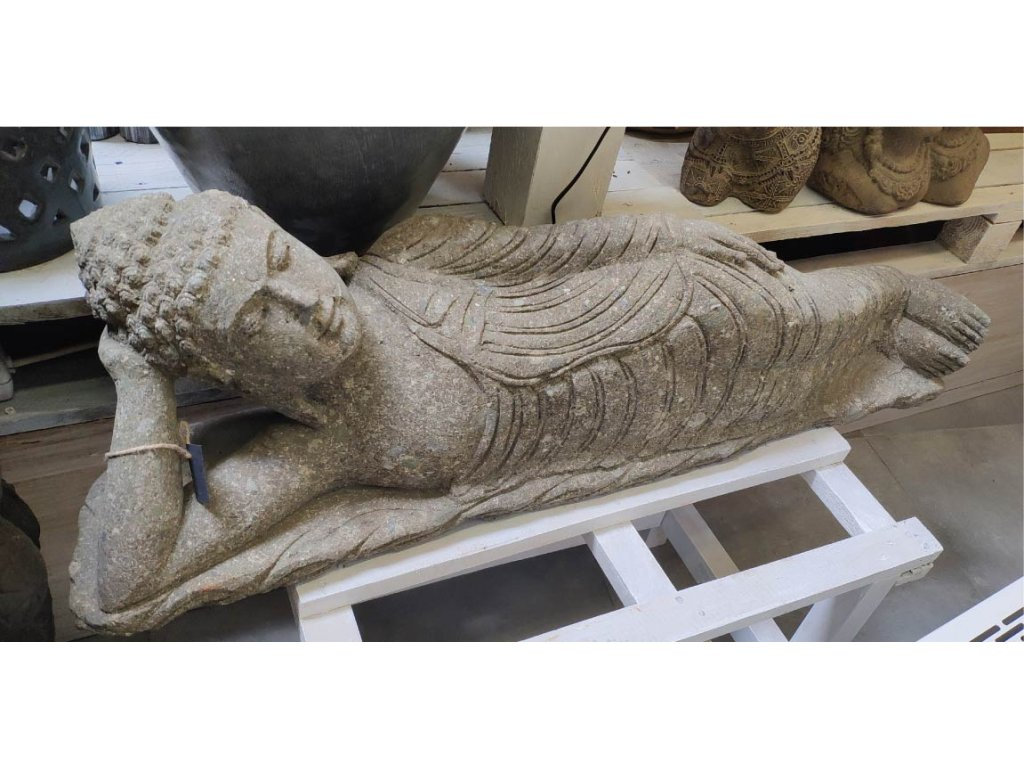Socha Budha Buddha ležící ručně tesaný ze zeleného vápence 100 cm (3)