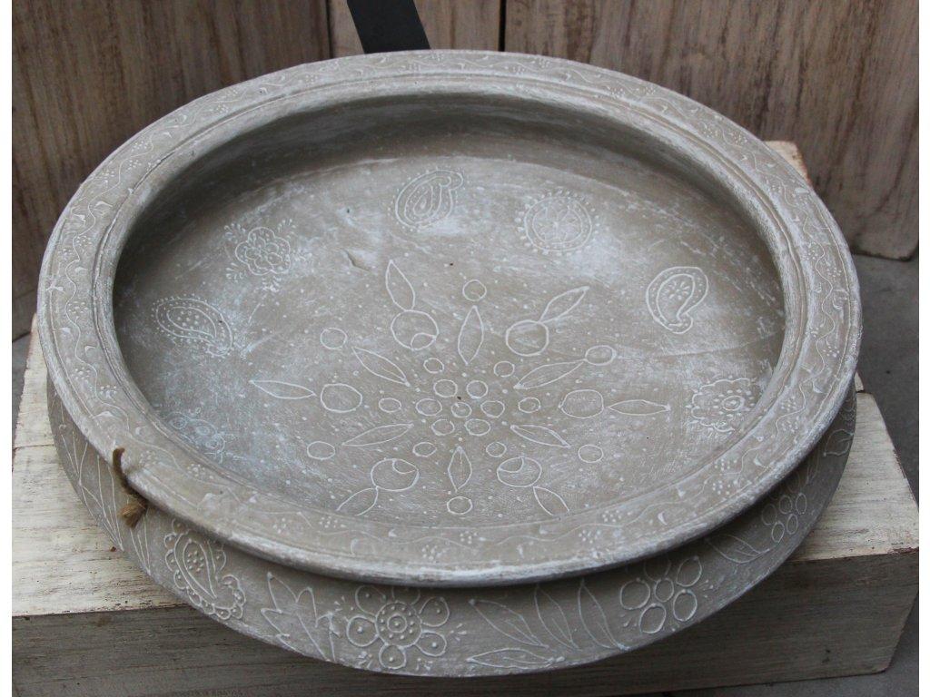 Mísa terakota průměr 35cm šedá patina