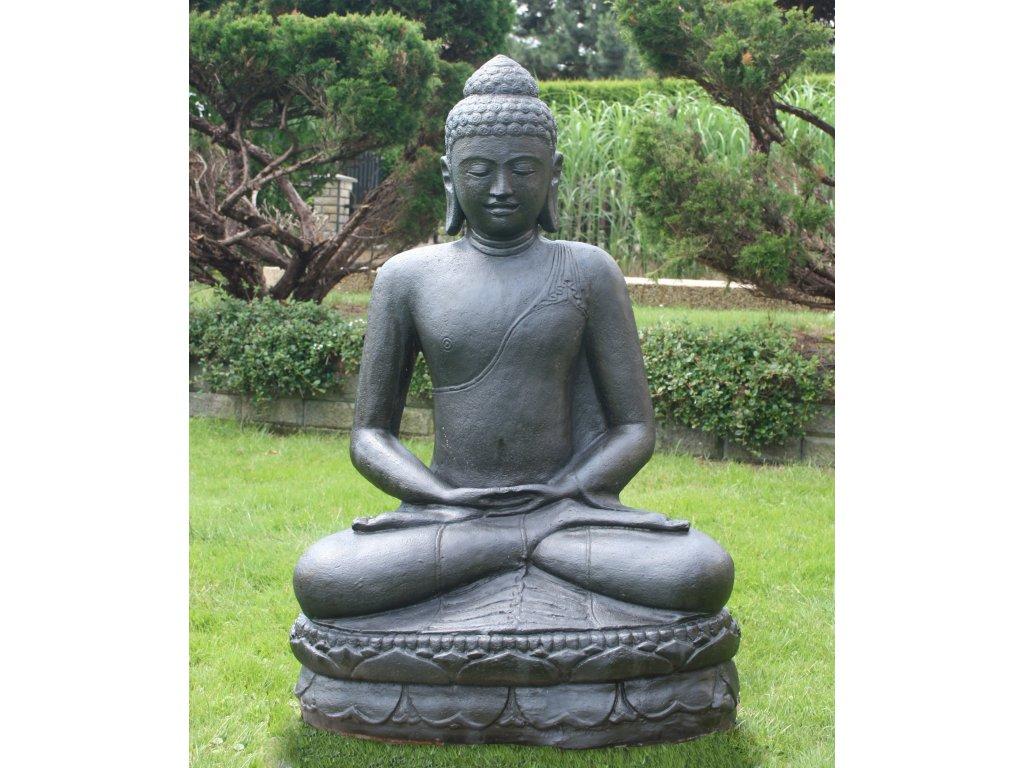 Socha Budha Buddha meditující na lotosovém květu 100cm patina DB