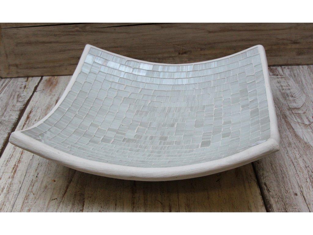Mísa terakota s vykládaným sklíčkem 30x30cm bílá