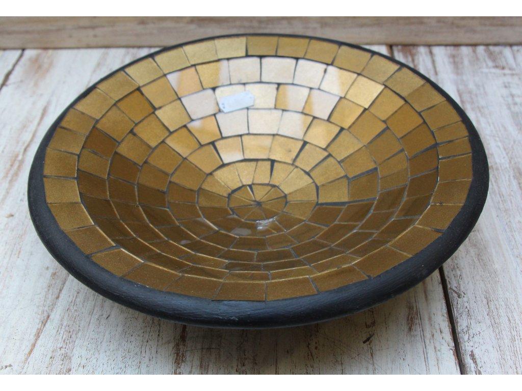 Mísa terakota s vykládaným sklíčkem průměr 28cm zlatá