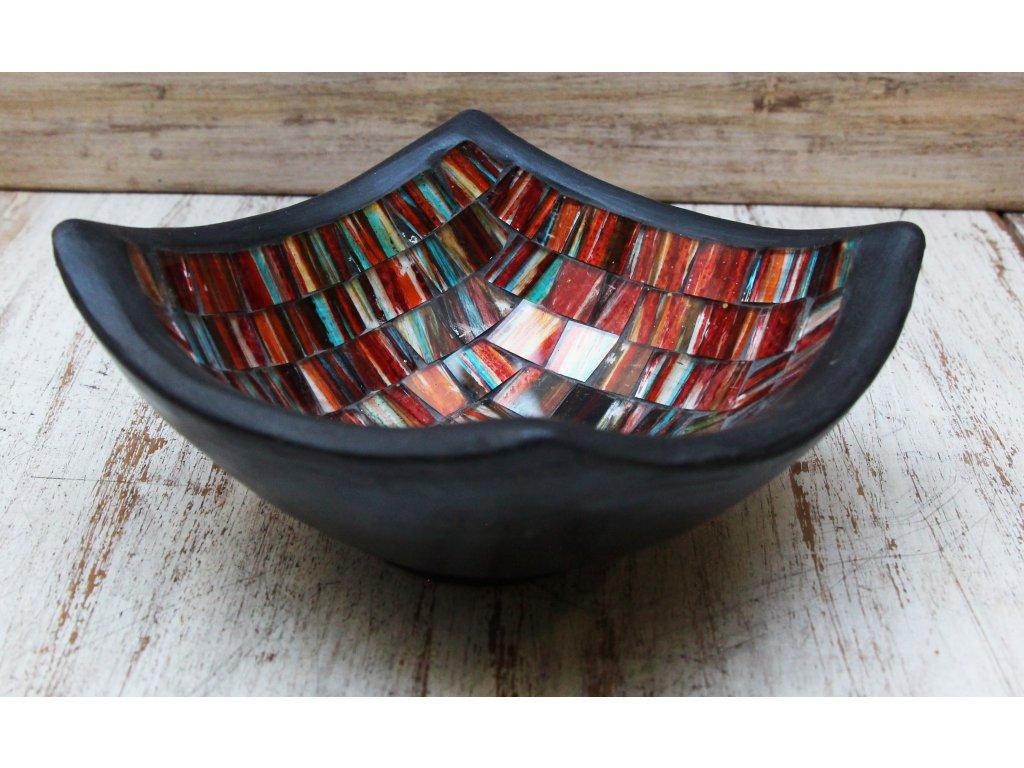 Mísa terakota s vykládaným sklíčkem 15x15cm barevná