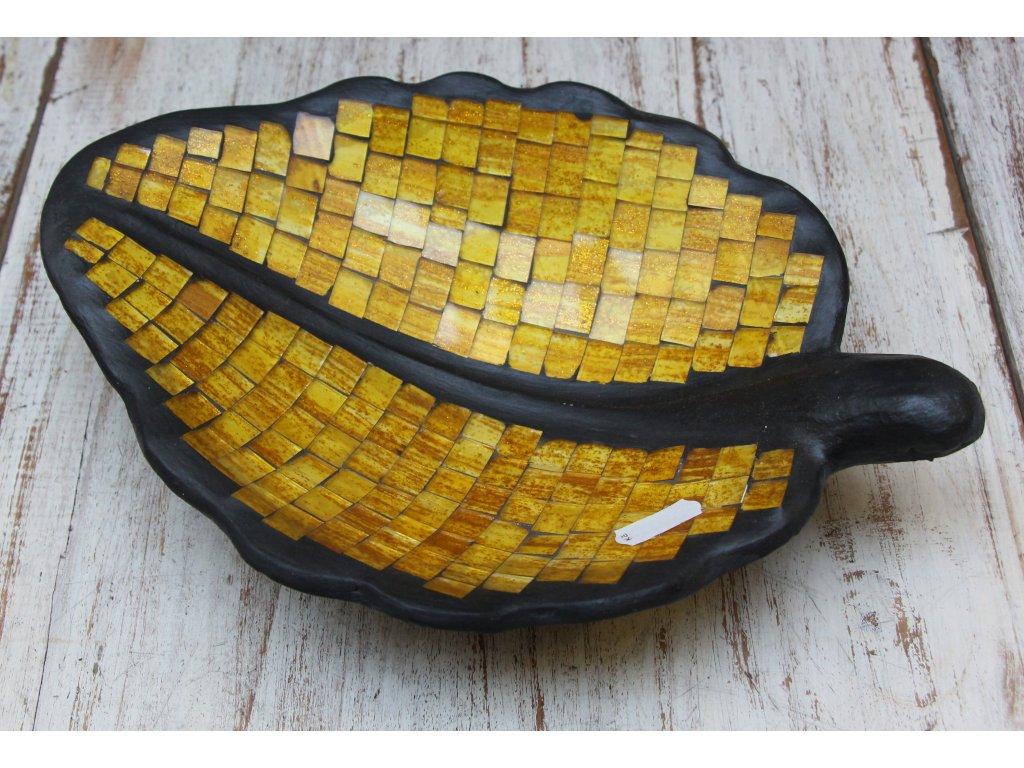Mísa terakota s vykládaným sklíčkem 28x20cm, 39x28cm leaf yellow