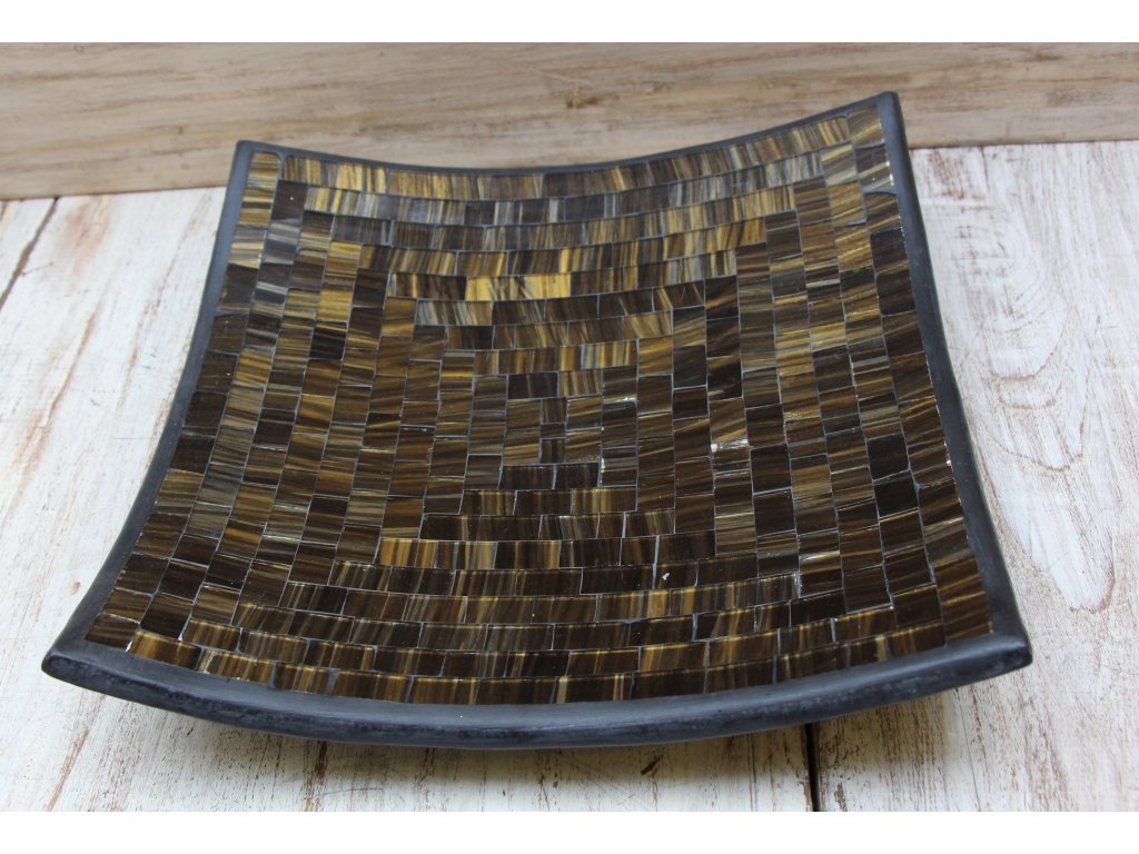 Mísa terakota s vykládaným sklíčkem 30x30 cm zlatá