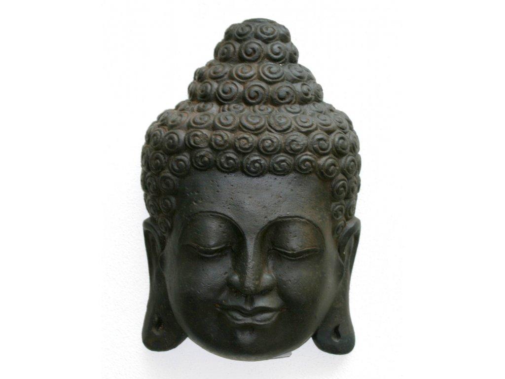 Socha Budha Buddha face wall 30cm patina DB