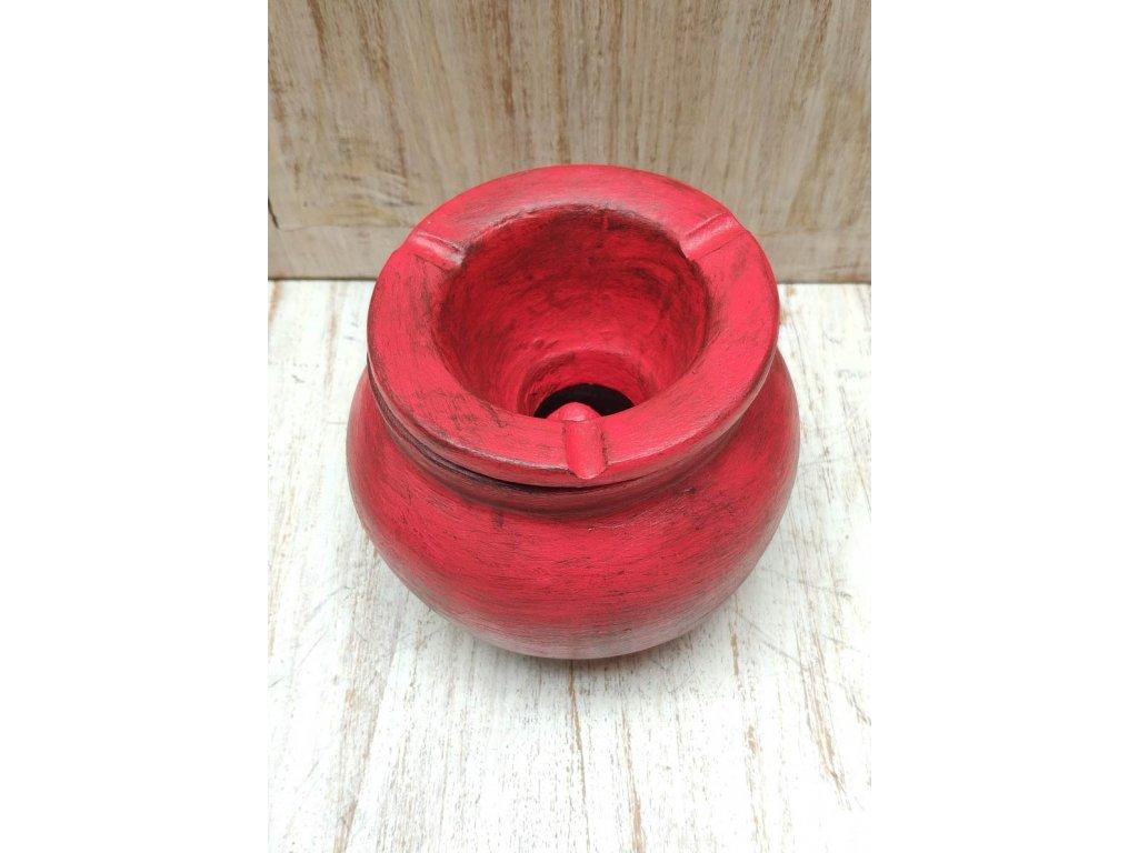 Popelník terakota výška 10cm červená patina