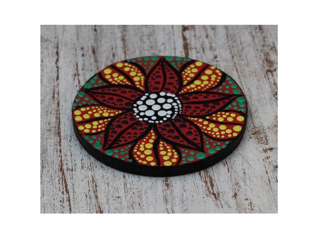Dřevěný ručně malovaný podtácek průměr 10cm flower multicolor round