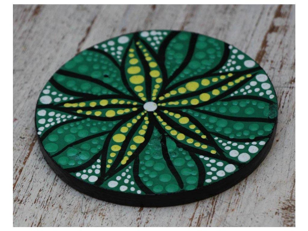 Dřevěný ručně malovaný podtácek průměr 10cm flower green