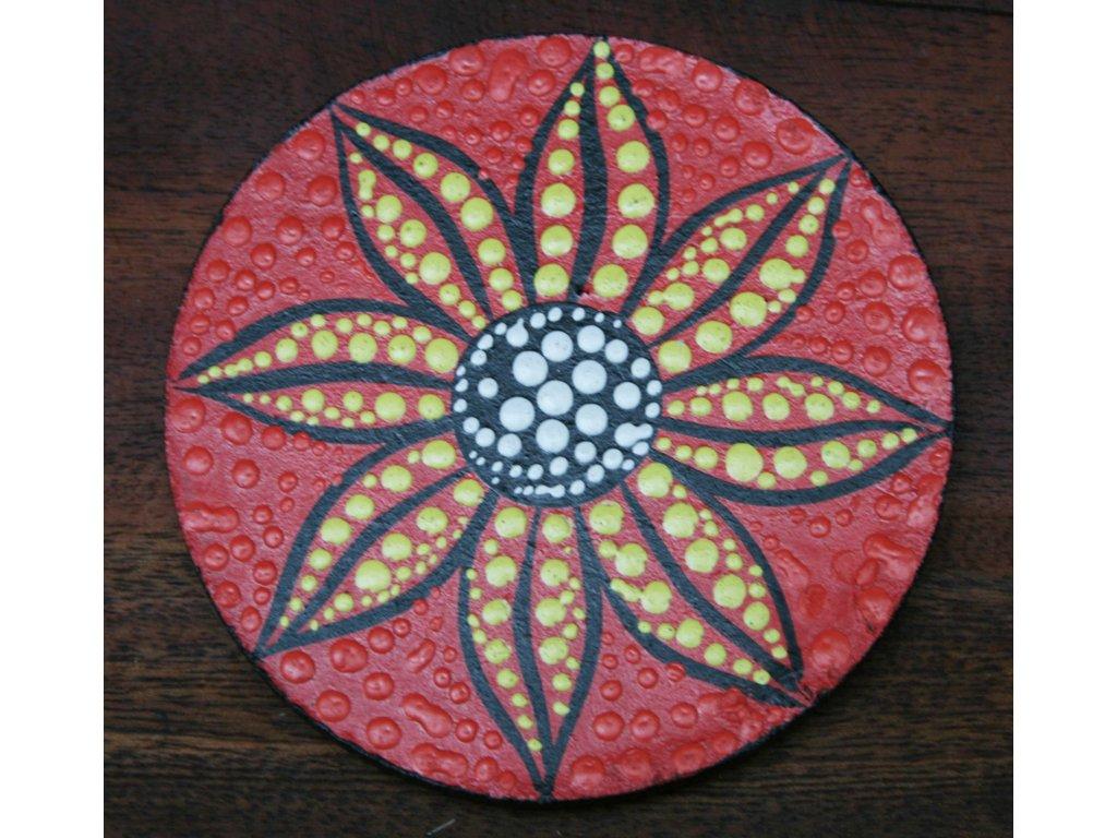 Dřevěný ručně malovaný podtácek průměr 10cm flower red