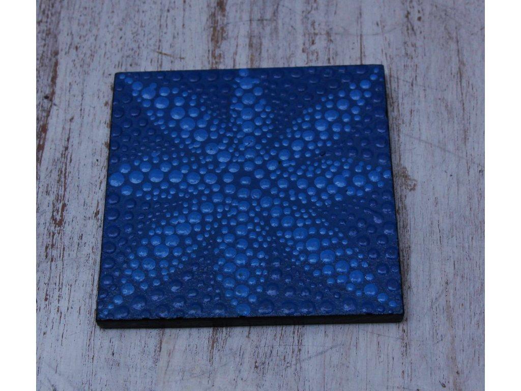 Dřevěný ručně malovaný podtácek 10x10cm flower blue