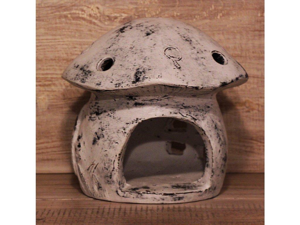 Domeček hříbek 2v1 na svíčku + krmítko pro ptáčky 22x24cm