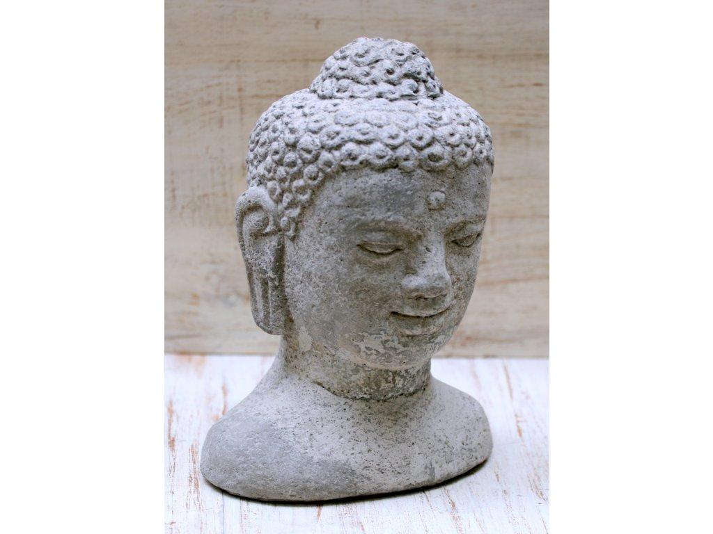 Socha Budha Buddha head torzo 30cm patina GREY