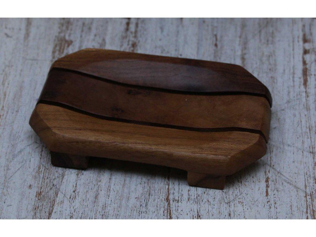 Dřevěná teaková mýdlenka model A 13x8cm
