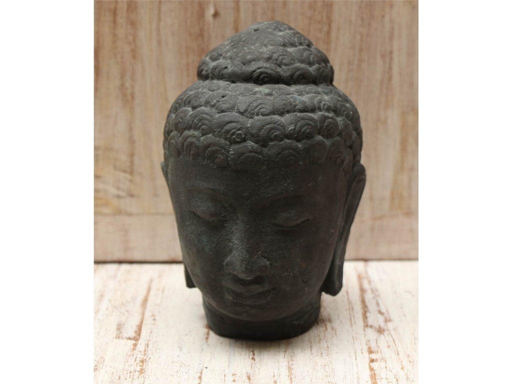 Socha Budha Buddha hlava 15cm patina Greeny
