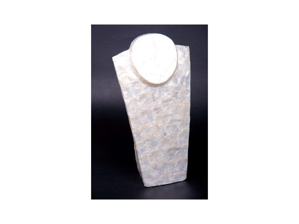 Dřevěný stojan - torzo na šperky KO vykládaný perletí 50cm