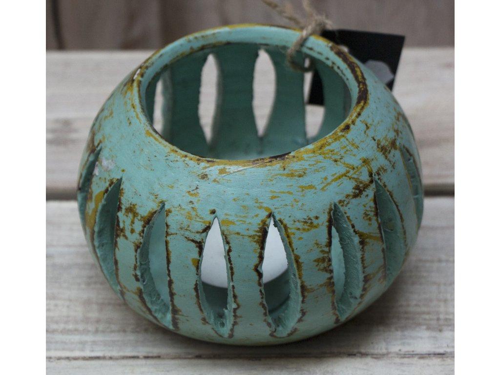 Stojánek - svícen na svíčky průměr 10cm zelená patina