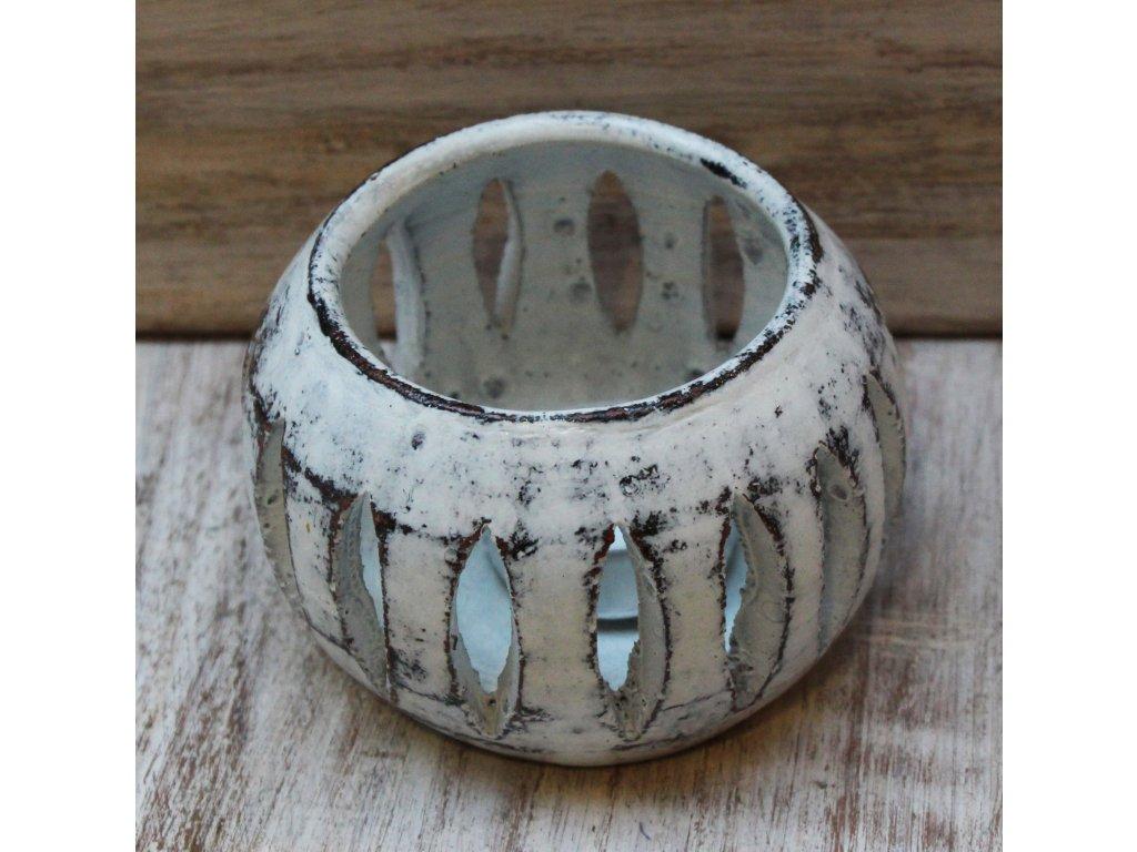 Stojánek - svícen na svíčky průměr 10cm bílá patina