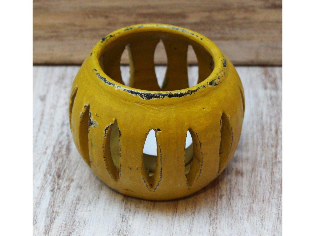Stojánek - svícen na svíčky průměr 10cm žlutá patina