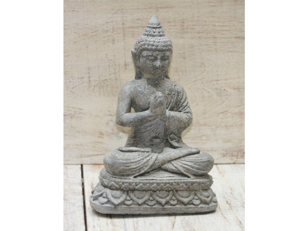 Socha Budha Buddha lotos  25cm patina GREY