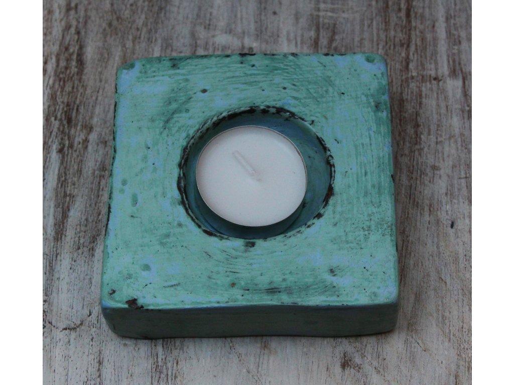 Stojánek - svícen na svíčky plochy zelený 10x10cm