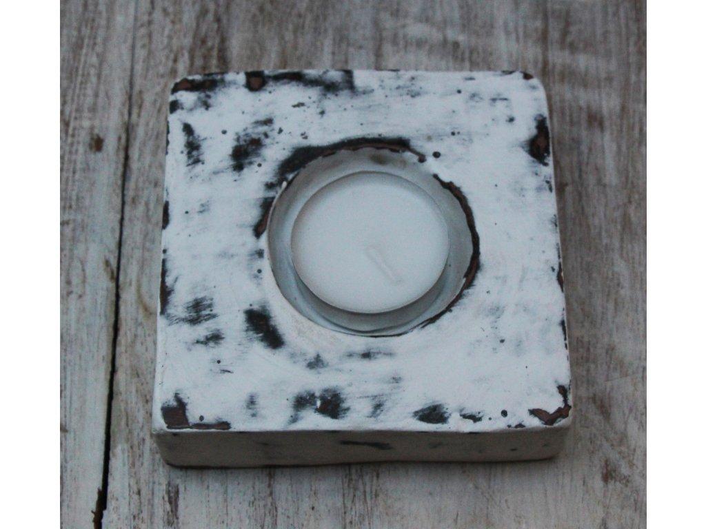 Stojánek - svícen na svíčky plochý bílý 10x10cm