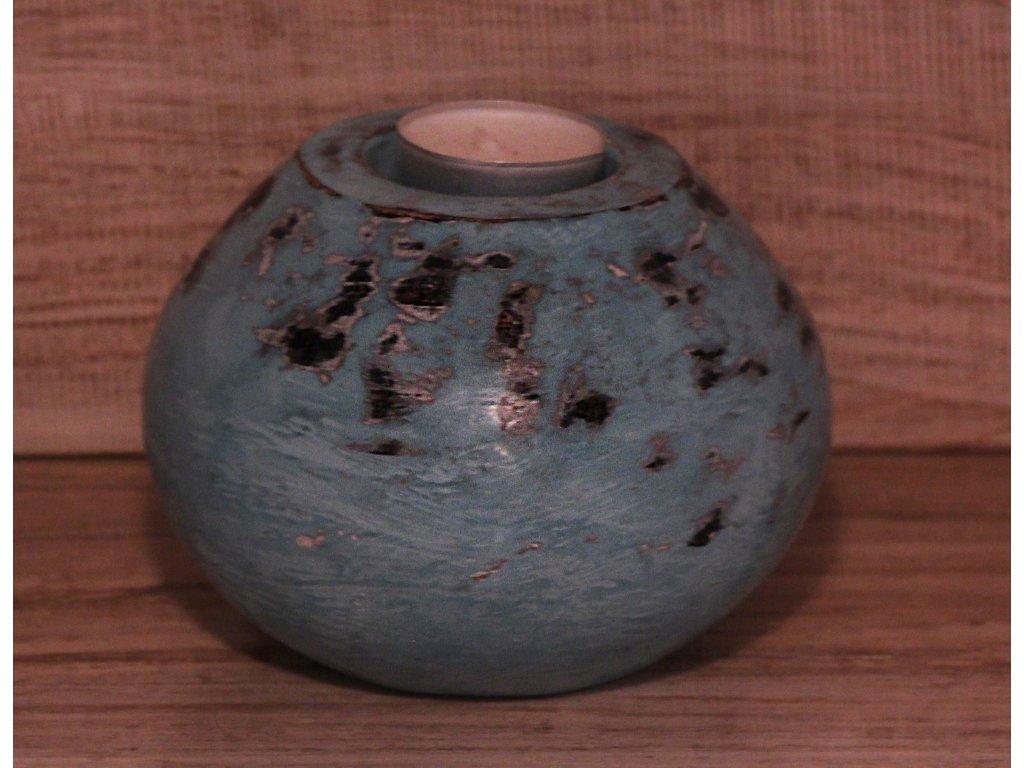 Stojánek - svícen na svíčky průměr 13cm - patina tyrkys