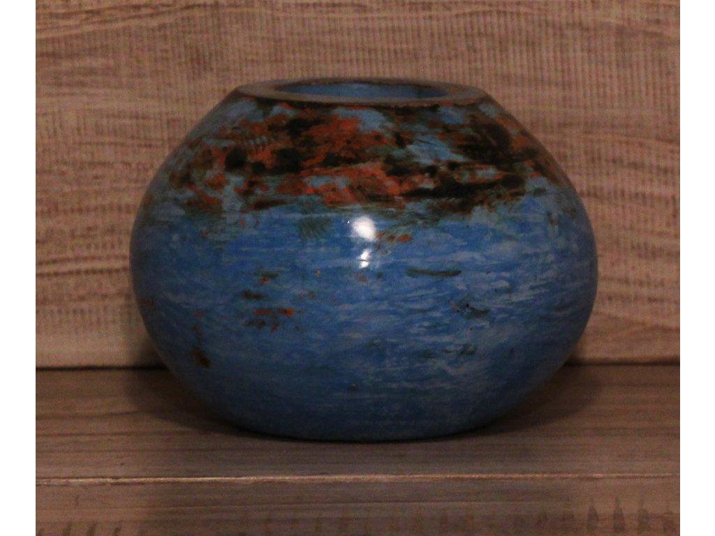 Stojánek - svícen na svíčky průměr 13cm - modrá patina