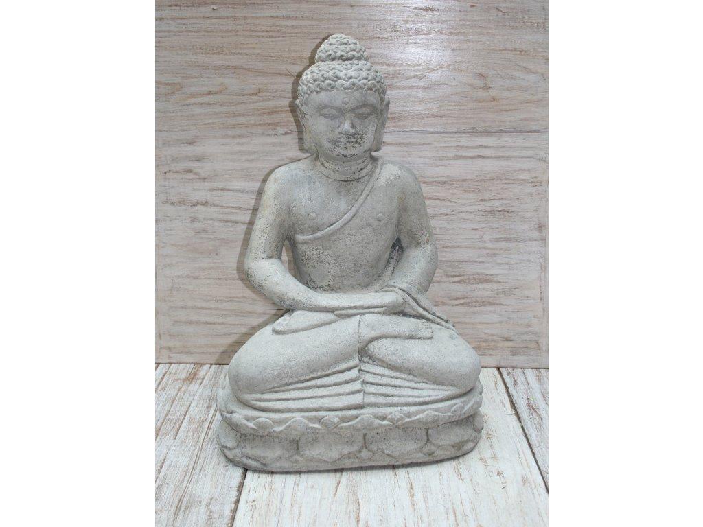 Socha Budha Buddha meditující na lotosovém květu 50cm patina GREY
