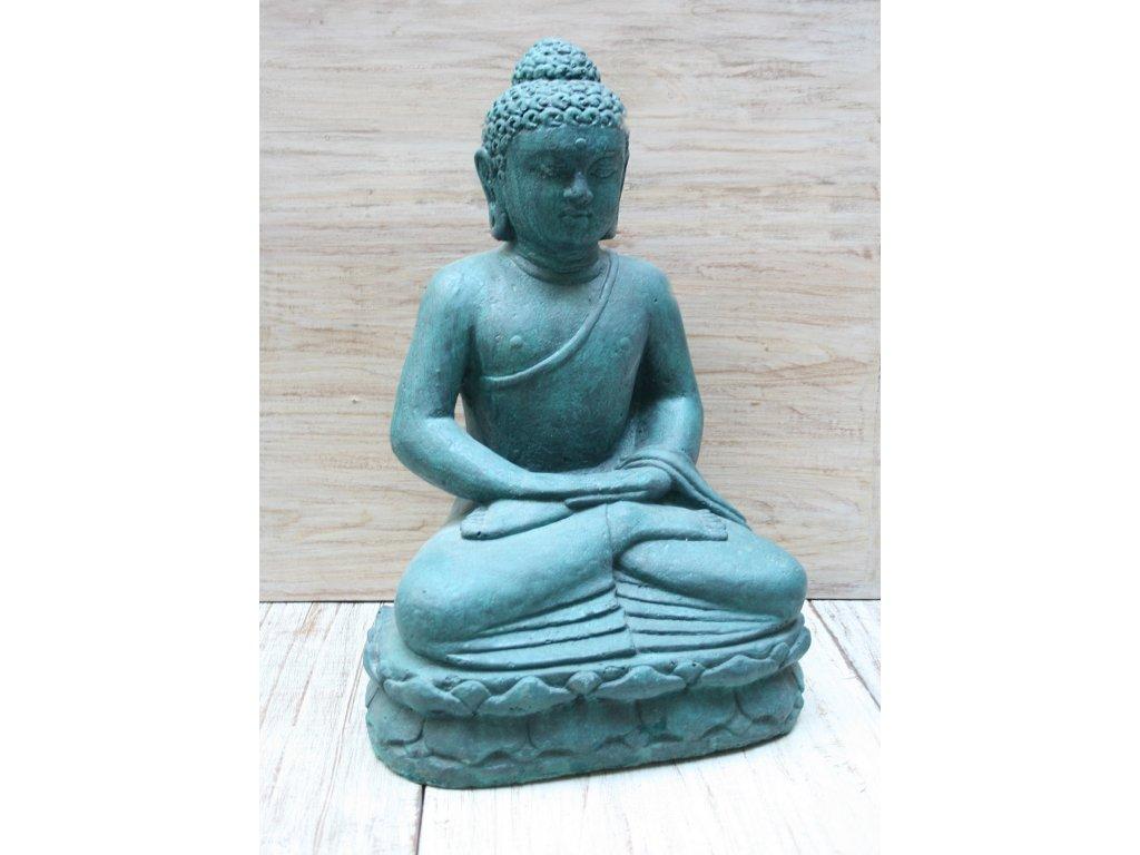 Socha Budha Buddha meditující na lotosovém květu 50cm patina Greeny