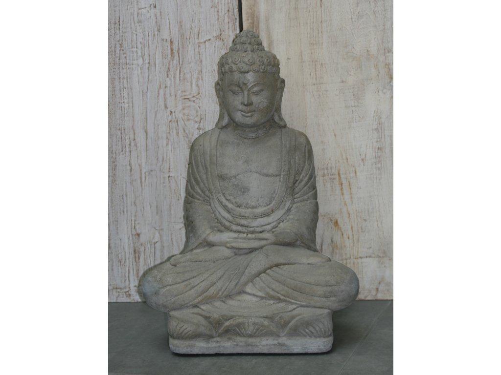 Socha Budha Buddha na lotosovém květu 62cm – model B patina GREY