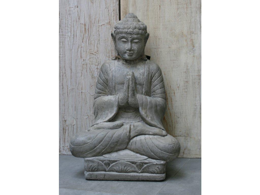 Socha Budha Buddha na lotosovém květu 62cm – model A patina GREY