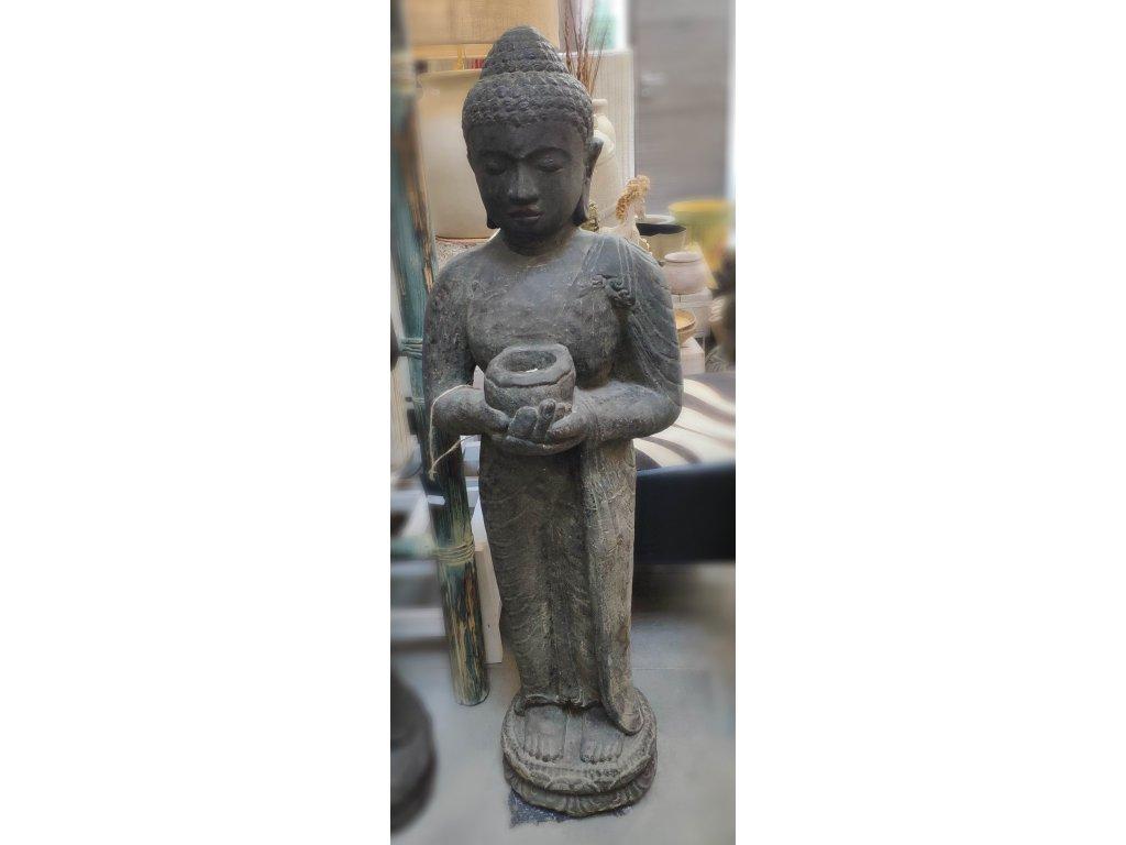 Socha Budha Buddha stojící s miskou 105cm patina BY