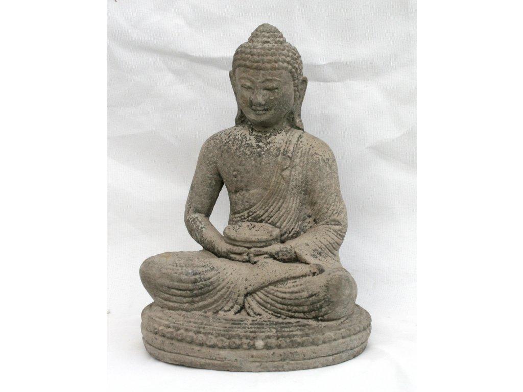 Socha Budha Buddha s dirkou na vonné tyčinky 21cm patina GREY
