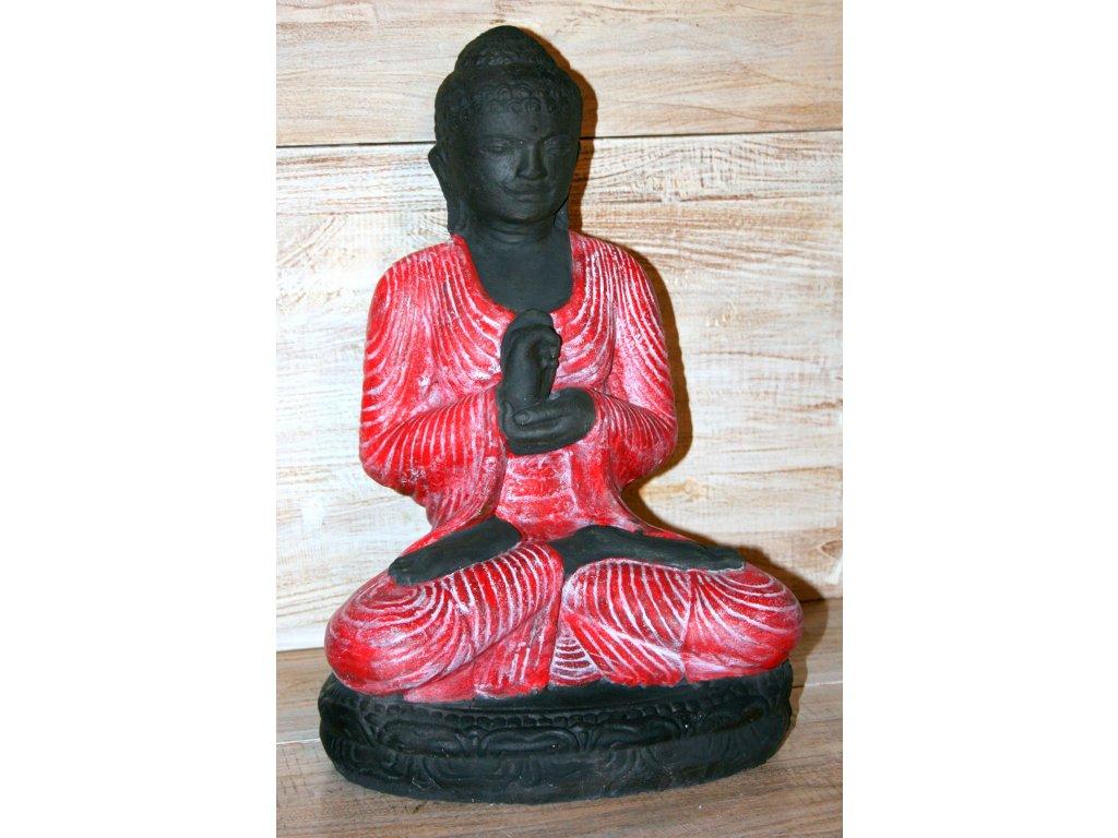 Socha Budha Buddha na lotosovém květu 45cm červená patina