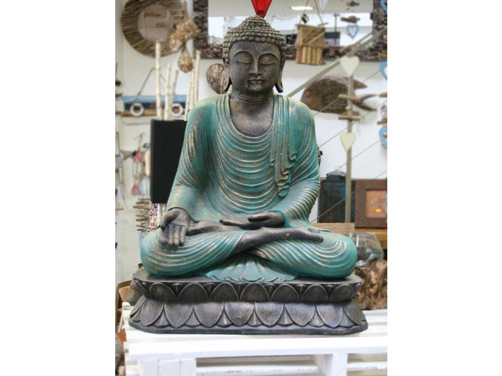 Socha Budha Buddha meditující na lotosovém květu 90cm zelené roucho