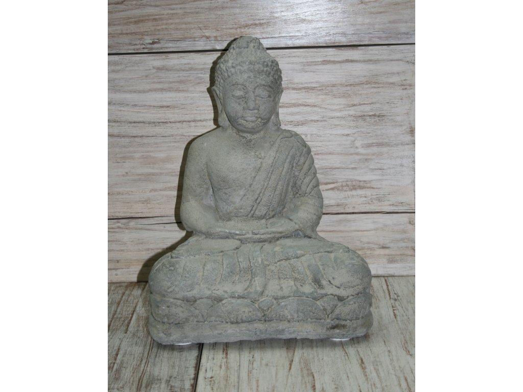 Socha Budha Buddha na lotosovém květu 40cm patina GREY
