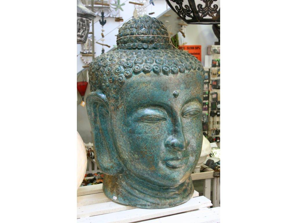 Socha Budha Buddha hlava 83cm zeleno-hnědá patina