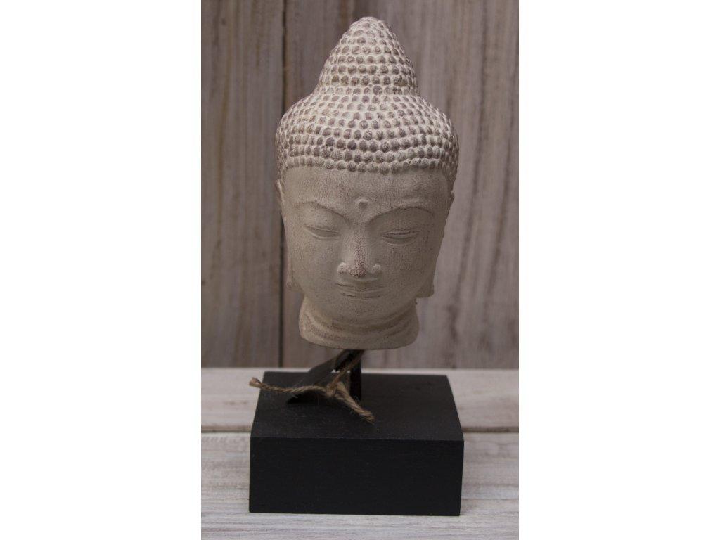 Socha Budha Buddha hlava na dřevěném podstavci 24cm patina CB