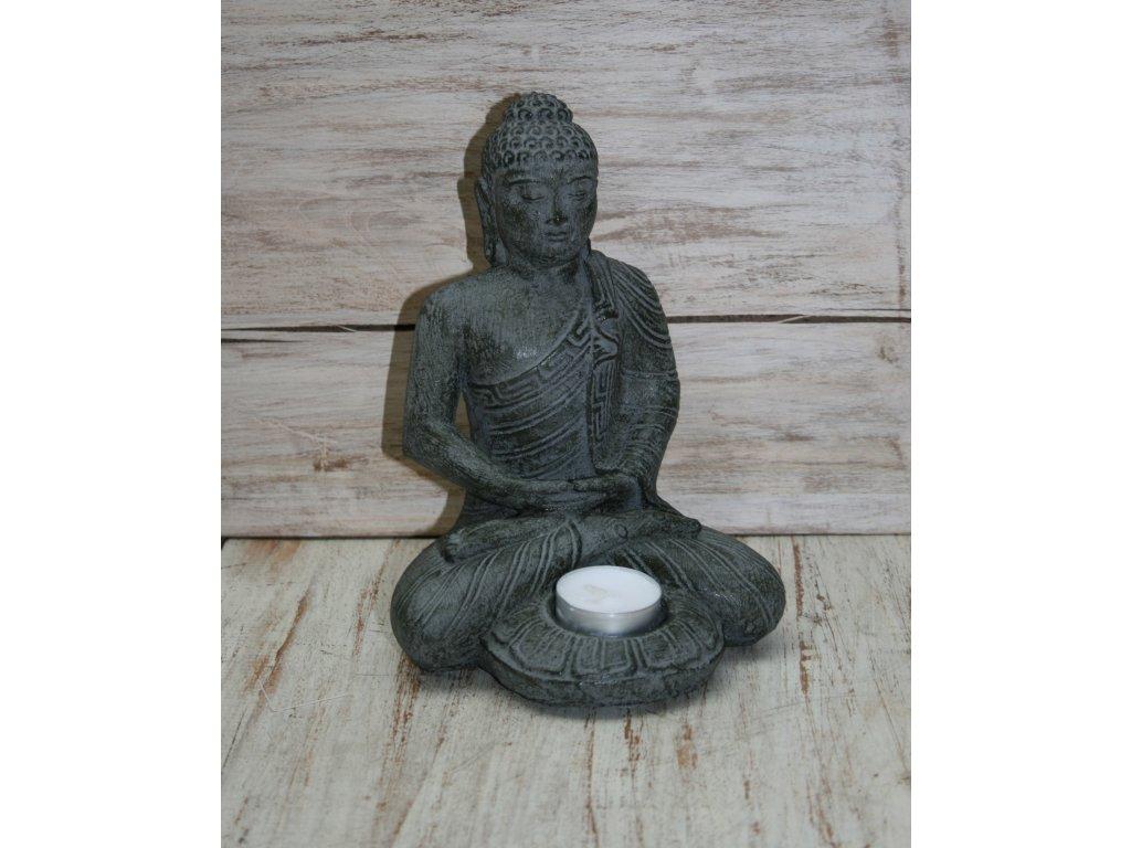 Socha Budha Buddha svíčka 21cm patina DG