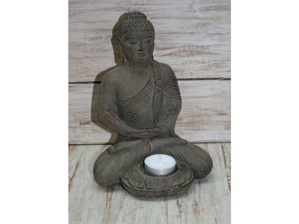 Socha Budha Buddha svíčka 21cm patina BY