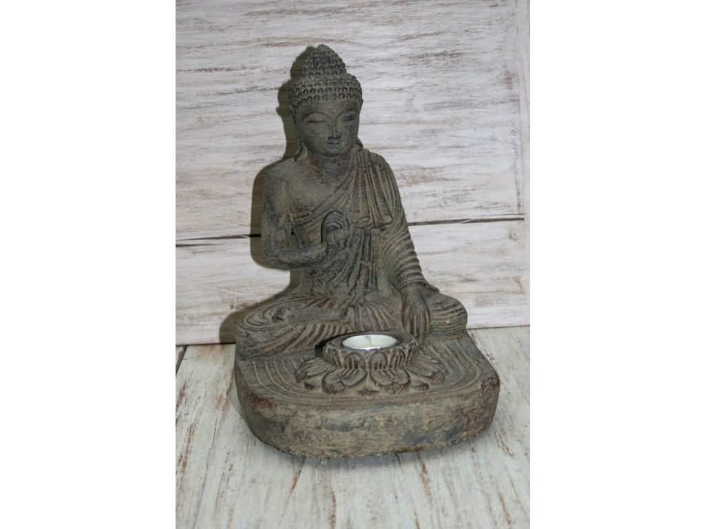 Socha Budha Buddha svíčka 27cm patina BY