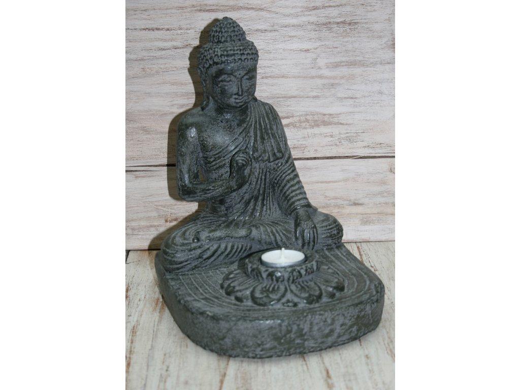 Socha Budha Buddha svíčka 27cm patina DG