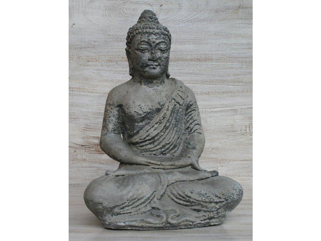Socha Budha Buddha meditující 30cm patina GREY